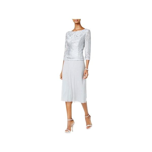 Shop Alex Evenings Womens Petites Evening Dress Lace Tea Length