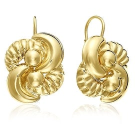 MCS JEWELRY INC 10 KARAT YELLOW GOLD LEVERBACK EARRINGS WITH FLOWER DESIGN 22MM