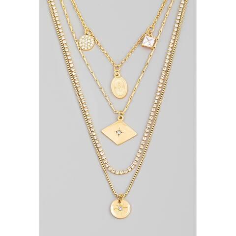 Women's Rhinestone Chain Layered Coint Pendant Statement Necklace