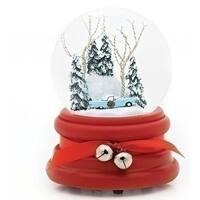 """Set of 2 Musical 1955 Thunderbird Christmas Glitter Dome 6"""" - White"""
