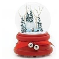"Set of 2 Musical 1955 Thunderbird Christmas Glitter Dome 6"""