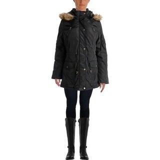 Madden Girl Womens Hood Puffer Anorak Jacket - L
