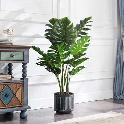 2-Sizes Philodendron Artificial Plant Tree In Round Pot