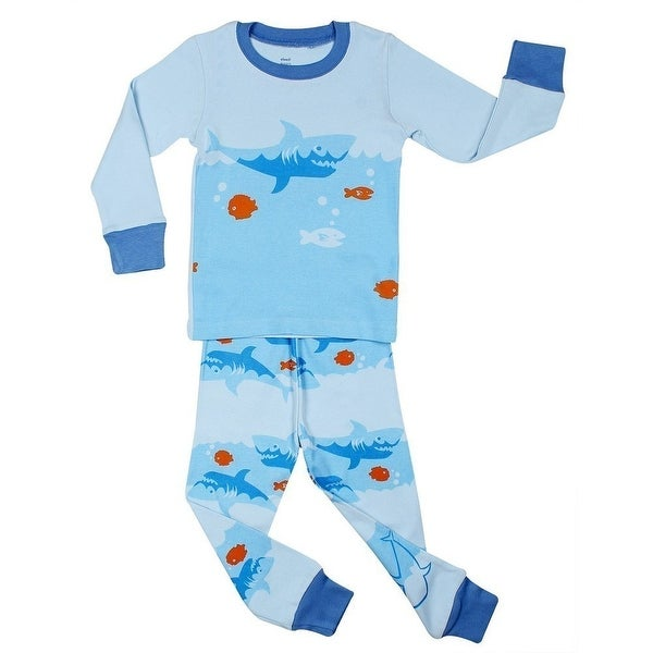 47607c198 Shop Elowel Little Boys Blue Shark Print Zipper Footed Cotton Pajama ...