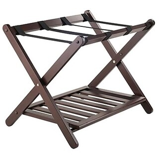 Winsome Wood 40436 Remy Luggage Rack with Shelf in Cappuccino