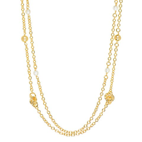 Bronzoro 18 k Gold Overlay Long Double Pearls and Knots Necklace