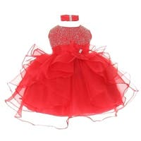 Baby Girls Red Organza Rhine studs Bow Sash Flower Girl Dress 6-24M