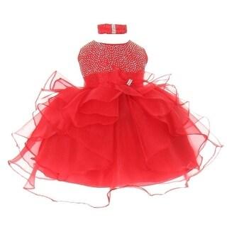 Baby Girls Red Organza Rhine studs Bow Sash Flower Girl Dress 6-24M