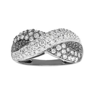 3/4 ct Black & White Diamond Ring in 14K White Gold