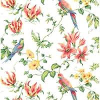 York Wallcoverings CJ2801 Green Book Birds Wallpaper - white/primary - N/A