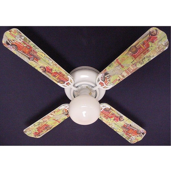 Nostalgic Fire truck Print Blades 42in Ceiling Fan Light Kit - Multi