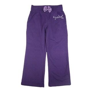 Disney Little Girls Purple Tinker Bell Star Print Bow Sweat Pants 2-4T
