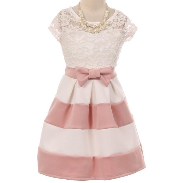 Shop flower girl dress stripe pattern lace bodice with necklace flower girl dress stripe pattern lace bodice with necklace dusty pink jks 2016 mightylinksfo