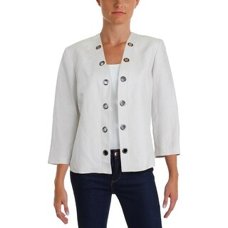 Kasper Womens Petites Open-Front Blazer Bracelet Sleeves Office Wear