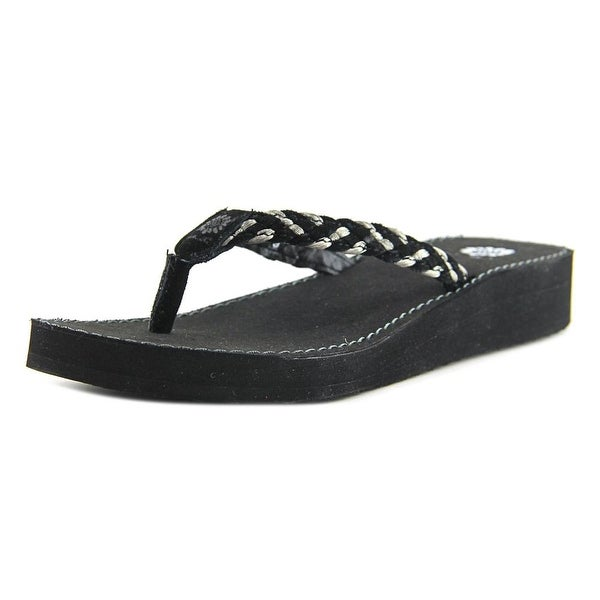 Yellow Box Quincie Women Open Toe Leather Black Flip Flop Sandal