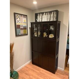 Porch & Den Jefferson Espresso Sliding Door Stackable Cabinet