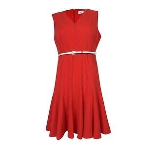 Calvin Klein Women's Textured Seam Belted V-Neck Dress