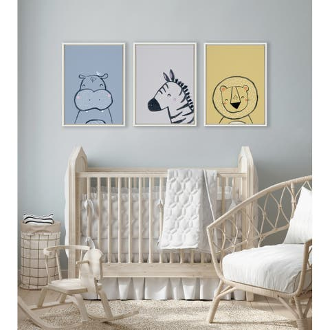 Kate and Laurel Sylvie Inky Hippo Framed Canvas by Lauradidthis