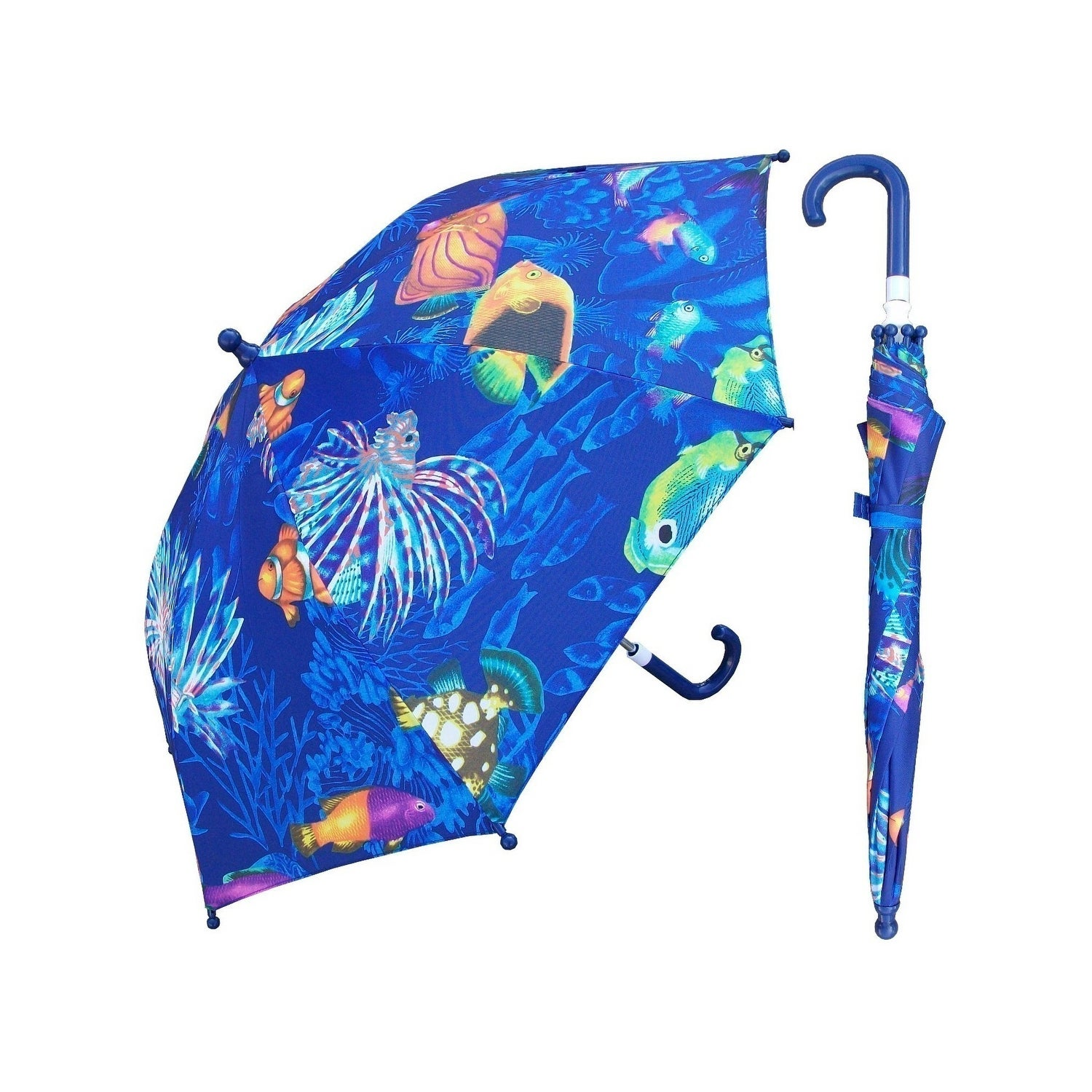 CTM Kids Stripe Print Stick Umbrella with Single Clear Panel Multi-Color
