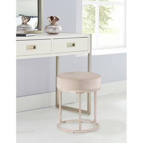 "Hillsdale Furniture Swanson Upholstered Vanity Stool, Bone White - Bone White - 15.5"" x 15.25"" x 18"""
