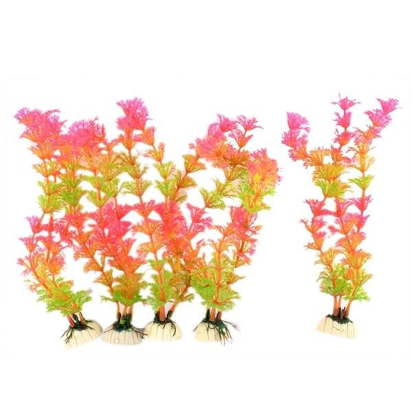 Fish Tank Ceramic Base Plastic Water Grass Plants Decoration Green Pink 5  PCS