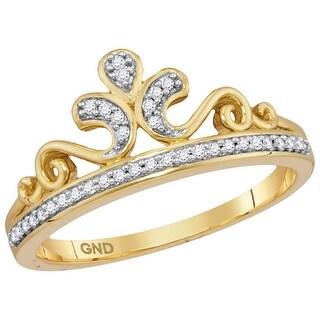 10kt Yellow Gold Womens Round Natural Diamond Crown Tiara Fashion Band Ring 1/10 Cttw - White