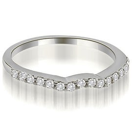0.24 cttw. 14K White Gold Curved Round Cut Diamond Wedding Ring