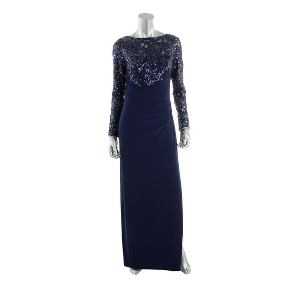 83b09248d5b Shop Lauren Ralph Lauren Womens Evening Dress Sequined Long Sleeves - Free  Shipping On Orders Over  45 - Overstock - 13120061