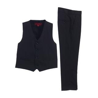 Little Boys Black 2 Piece Vest Pants Formal Outfit Set