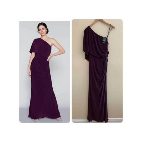 ADRIANNA PAPELL Purple Short Sleeve Full-Length Sheath Dress Size 14