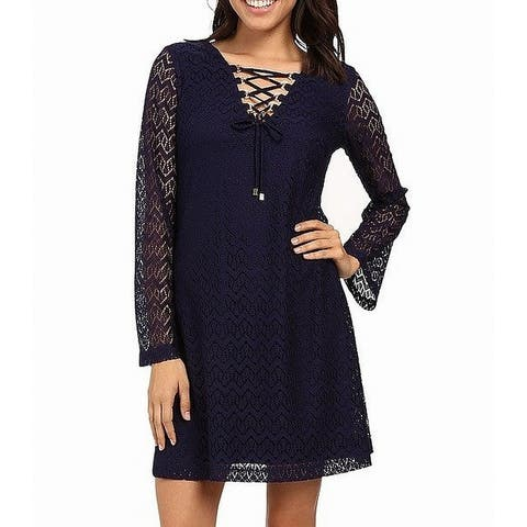 Jessica Simpson Navy Blue Womens Size 6 Floral Lace A-Line Dress