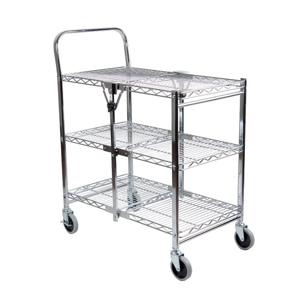 shop rod desyne 3 tier commercial grade rolling folding utility cart - wire