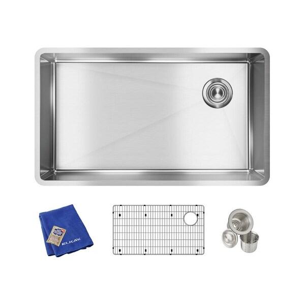 """Elkay ECTRU30179RTC Crosstown 31-1/2"""" Undermount Single Basin Stainless Steel Kitchen Sink with Sound Dampening"""