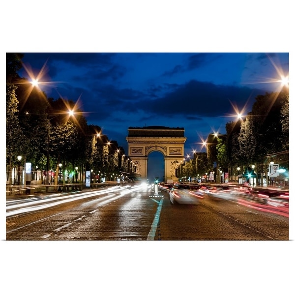 """Champs Elysees and Arc de Triomphe at dusk."" Poster Print"