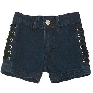 Girls Dark Blue Lace-Up Metal Eyelet Side Detail Denim Shorts
