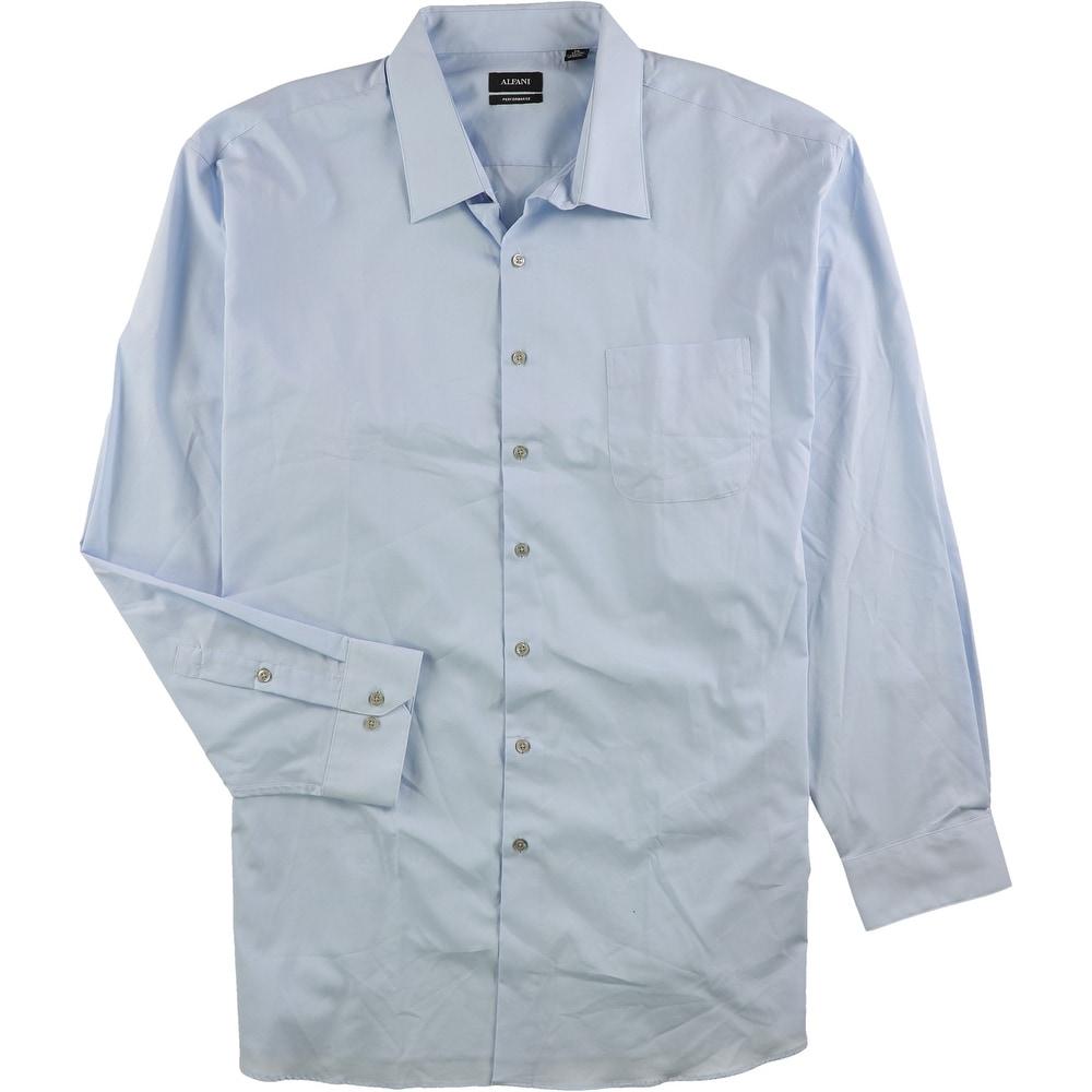 "20/"" Neck 37/""-38/"" Sleeve Alfani Mens Performance Button Up Dress Shirt Blue"