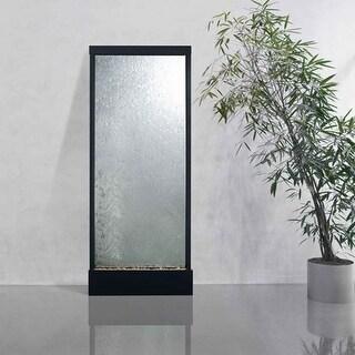 10' Waterfall Grande Floor Fountain Black Onyx Frame w Clear Glass
