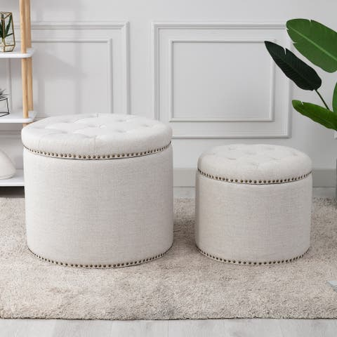 Oscar Upholstered Storage Ottomans, Textured Cream (Set of 2)