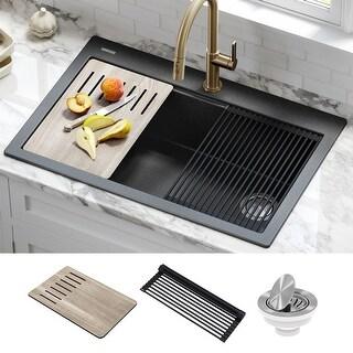Link to KRAUS Bellucci Workstation 33 inch Drop-In Granite 1-Bowl Kitchen Sink Similar Items in Sinks