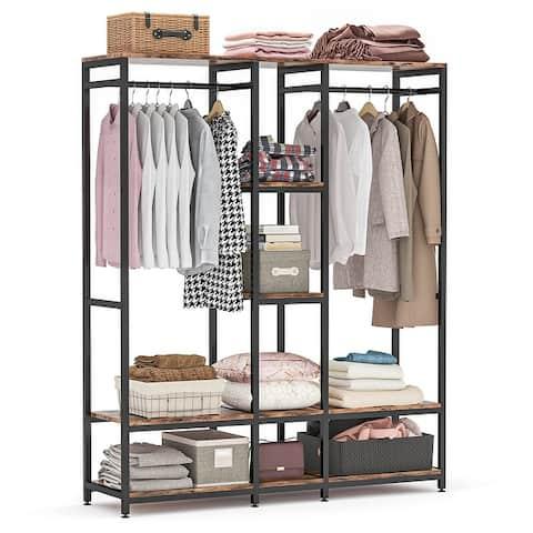 Double Rod Free standing Closet Organizer,Heavy Duty Clothe Closet Storage with Shelves,