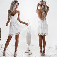 Women V-neck Lace Backless Evening Party Sundress Sleeveless Short Dress YP37B