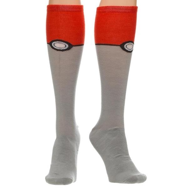 Pokemon Pokeball Knee High Socks - Red