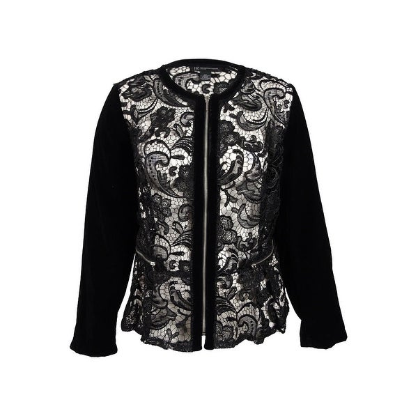 ce4086bf06b Shop INC International Concepts Women s Velvet-Sleeve Lace Peplum Jacket  (3X
