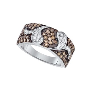 10k White Gold Womens Cognac-brown Colored Diamond Cocktail Fashion Band Ring 7/8 Cttw - Brown