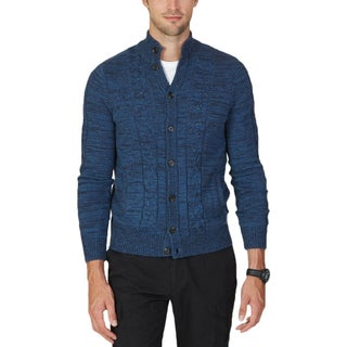 Nautica Mens Cardigan Sweater Cable Kit Space Dye