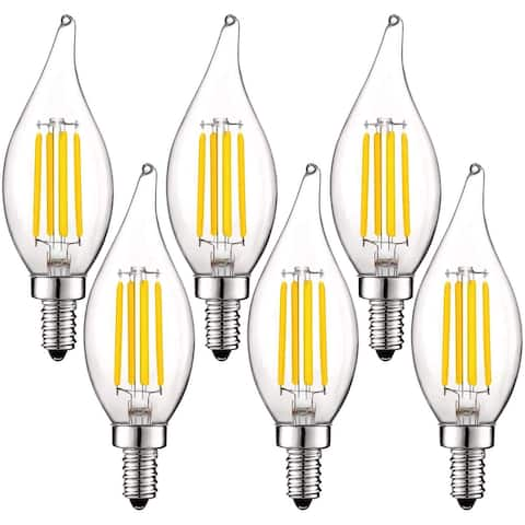 Luxrite 5W Vintage E12 LED Bulb 60W Equivalent, 550 Lumens, Dimmable Candelabra LED Bulbs, Clear Glass (6 Pack)