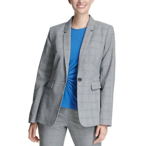 DKNY Womens One-Button Blazer 14 Black & Marina Blue Glen Plaid