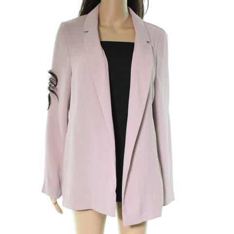 TopShop Women's Jacket Pink Size 6 Notched-Lapel Open-Front Solid