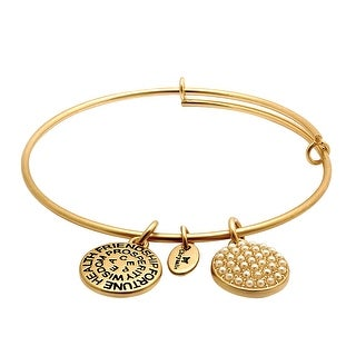 Chrysalis Expandable June Bangle Bracelet with Glass Pearls in 14K Gold Plating-Plated Brass