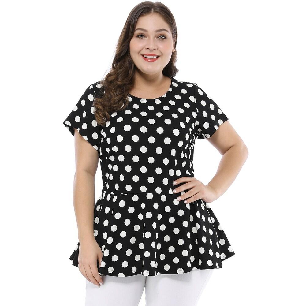 Women Plus Size Short Sleeves Polka Dots Peplum Top by  Best #1